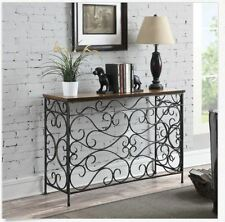 Vintage Ornate Industrial Console Table Sofa Accent Hallway Entryway Metal Oak