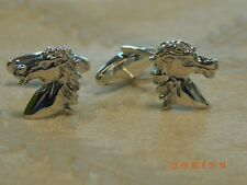 Sterling Silver Spirit of the Andalusian Horse w/ lab created diamond cufflinks