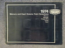 1974 Mercury & Capri Exterior Paint Selections Color Chart Booklet LM-74