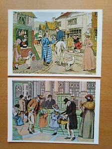 """Lot x 2 POSTCARDS - """"The Butcher"""" & """"Pa's Bank"""" - from """"THE BOOK OF SHOPS"""" - V&A"""