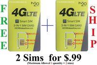 H20 4G LTE Triple Sim Card Nano, Micro, and Mini H2O For AT&T & Unlocked phones