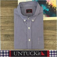 UNTUCKit Mens Shirt Sz L Slim Fit Long Sleeve Button Front Check Cotton