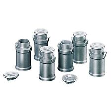 SIX MILK CHURNS/CANISTER with Lids for dairy farm 1/24-1/32 Scale MINIATURE