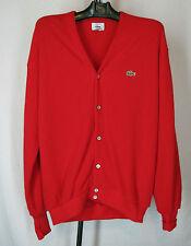 VTG   Izod Lacoste Alligator Men's Cardigan Red  Sweater XL, Made USA Preppie