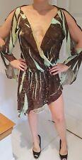 Kasike Ladies Asemmetrical Dress size 8/10 split sleeves plunging neckline