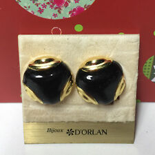 D'ORLAN VINTAGE GOLD BLACK ACCENT ROUND CLIP EARRINGS