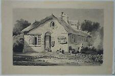 OLD COTTAGE - ALTES LANDHAUS - ENGLAND - um 1880 - OLD ANTIQUE WATERCOLOR ANTIK