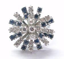 Fine Round Cut Diamond & Sapphire Cluster Jewelry Ring White Gold 1.20CT