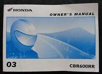 ORIGINAL HONDA 600 CBR600RR MOTORCYCLE OPERATORS MANUAL VERY GOOD