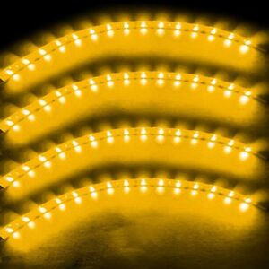 Zento Deals 4x Yellow Amber 30cm 15 LED Car Flexible Waterproof Light LED Strips