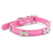 Luxury Pet Puppy Dog Collar Diamond Coller PU Leather Bone Necklace Neck Band UK