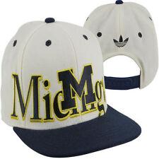 NCAA Michigan Wolverines White Adidas Throwback Snapback Hat Cap Crown