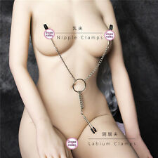 3 IN 1 Nipple Clamps Breast Labia Clips With Metal Chain Fetish Toys For Couple