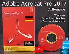 Adobe Acrobat Pro 2017 Vollversion Box, CD, Handbuch Win Student/Teacher OVP NEU