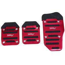 3Pcs Non-Slip Manual Car Pedal Pad Cover Brake Clutch Foot Pedal Red Universal