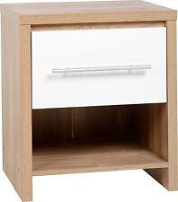 Seville 1 Drawer Bedside Cabinet in Light Oak Veneer White High Gloss