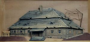 Vintage 3D Metal Wall Art Tavern Cabin in Wood Box Handmade Cepelia Polish Art