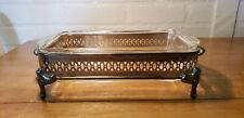 VINTAGE FIRE KING GLASS RECTANGULAR 1QT CASSEROLE WITH SILVER METAL TRIVET