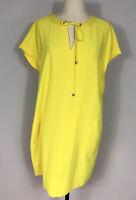 Lands' End Bright Yellow Tie Neck Short Sleeve Shift Dress Pockets Women's 10