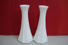 "Set Of 2 White HOOSIER Glass Crystal Flowers Vase 6"" Tall 4063.8"