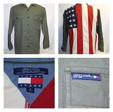 Tommy Hilfiger Denim Jacket Military Style Front American Flag Back Small S