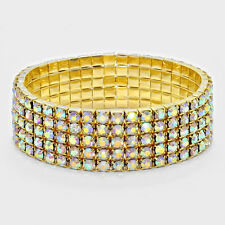 Rhinestone Bracelet 5 Row Wide Stretch Bangle Crystal Pave Wedding Bride GOLD AB