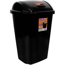 Hefty Swing Lid Trash Can Black 13.5 Gal Garbage Waste bin Tall Plastic Kitchen