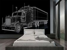 Semi Truck Illustration 3D Car Wall Mural Photo Wallpaper GIANT WALL DECOR