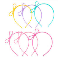 6X Child Stretchy Plastic Headband Candy Color Bowknottiara Hair Hoop Party JE