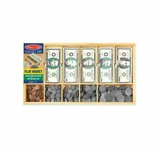 Play Money Set Educational Toy With Paper Bills, Plastic Coins and Cash Drawer