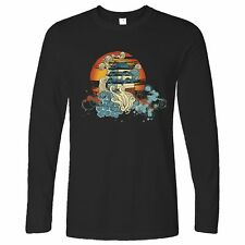 Traditional Art Long Sleeve Painted Chinese Sunset Graphic Oriental Style