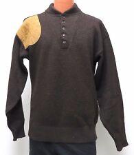 fe4cf031d vtg LL Bean BROWN SHOOTING Sweater LT 80s 90s Suede Shoulder Wool Blend L  TALL