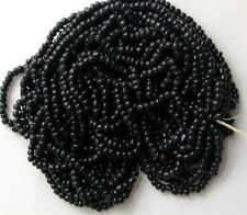 Black Vintage Czech Glass Round Lg Seed Beads 10-11bpi HEAVY 84g Hank (6301628)