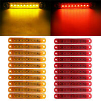 4Pcs Trailer Truck Indicators LED Lights Side Marker Amber + Red Waterproof