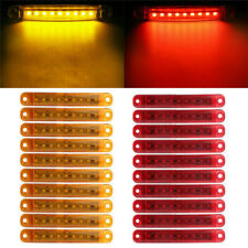 20pcs 9 LED Bus Truck Trailer Side Marker Indicators Lights Red+Amber Waterproof