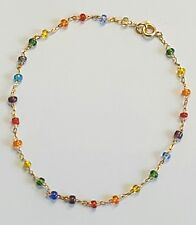 """inch Lg Multi-Color Stones Green,Blue,Red,Yellow Gold Filled Ankle Bracelet 10"""""""