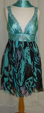 SHORT PAGEANT PROM COCKTAIL DRESSES HOMECOMING EVENING FORMAL GOWN BLUE/PRINT  M