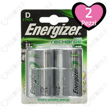 2 Batterie Ricaricabili Torcia Energizer D 2500mAh