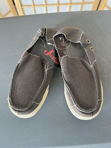 JUSTIN Canvas Shoes Mens Slip On Loafer Olive Green Khaki 11 M Casual SM400