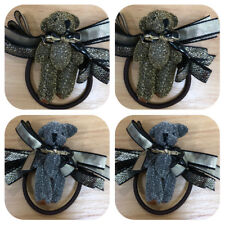 Set of 4 Cute Gold and Silver Bear Hair Ties Hair Accessories. New! Ship Free!