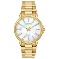 Citizen Eco-Drive Chandler Women's Crystal Dial Gold-Tone 37mm Watch FE7032-51D