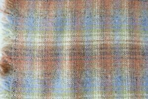 Vintage Light Weight Wool Apparel & Home Fabric Blue & Coral Plaid 3.5 yards