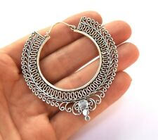NEW Silver Tribal Hoops Statement Ethnic Festival Silver Large Ornate Indian