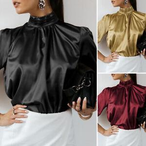 UK Ladies Look Satin High Neck Victorian Shirt Formal Blouse Women Plus Size Top