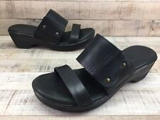 Born Black Leather Sandals Slides Heels Women's sz 7