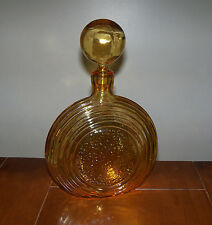 Vintage Mid-Century Yellow Amber Art Glass Round Ball Stopper Liquor Decanter