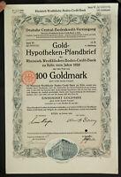 GERMANY 921/B&V -Gold-Hypotheken-Pfandbrief 100 Goldmark Boden-Kredit-Bank Köln