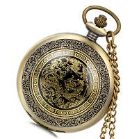Vintage Antique Bronze Steampunk Quartz Pocket Watch Pendant Chain Necklace Gift