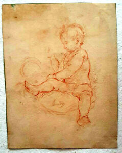 Unknown Artist, Pencil on Paper, Baby, SIGNED, Vintage 25x20cm 18th-19th Century
