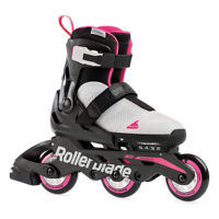 Rollerblade Microblade 3WD Inline Adjustable Roller Skates for Kids, Gray & Pink